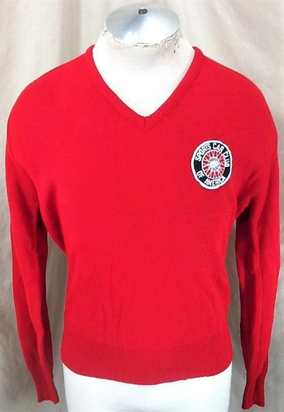 Vintage 80's Logo 7 Sports Car Club of America (Large) Pullover V-Neck Acrylic Sweater