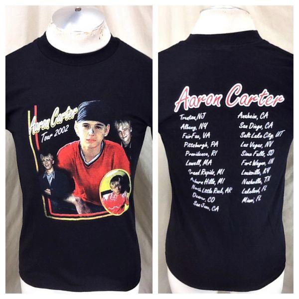 Vintage 2002 Aaron Carter Tour (Small) Retro Boy Band Pop Graphic T-Shirt Black