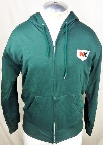 Vintage 1980's NK Seed Brand (Medium) Retro Zip Up Hooded Long Sleeve Sweatshirt