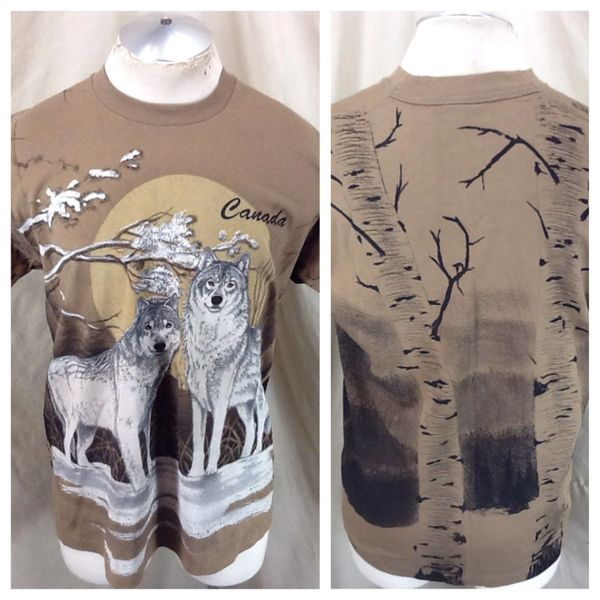 "Vintage 90's Canada ""Timberwolves"" (Large) Retro Graphic Tourism T-Shirt Brown"