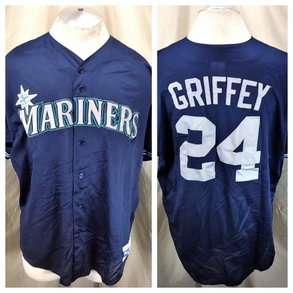 Vintage Majestic Seattle Mariners Ken Griffey Jr #24 (2XL) Retro MLB Stitched Button Up Baseball Jersey