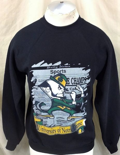 New! Vintage 90'a Notre Dame Fighting Irish (Med) Retro NCAA Graphic Crew Neck Sweatshirt