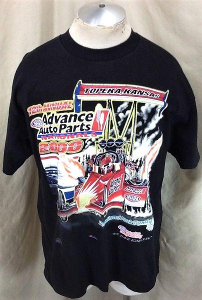 Vintage 2000 NHRA Winston Drag Racing (XL) Topeka, Kansas National Graphic T-Shirt Black