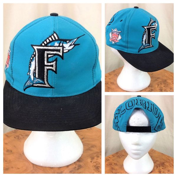 Vintage 90's Florida Marlins MLB Baseball Retro National League Embroidered Snap Back Hat