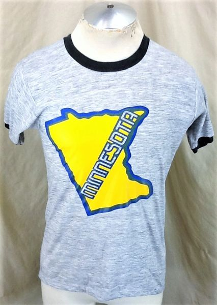 "Vintage 90's Minnesota ""State Outline"" (Medium) Retro Graphic Rayon T-Shirt Gray"