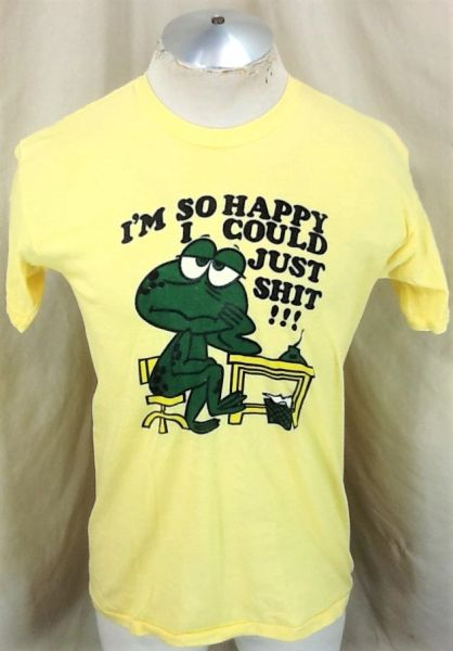"Vintage 80's ""So Happy I Could S**t"" (L/XL) Retro Graphic Funnt T-Shirt Yellow"