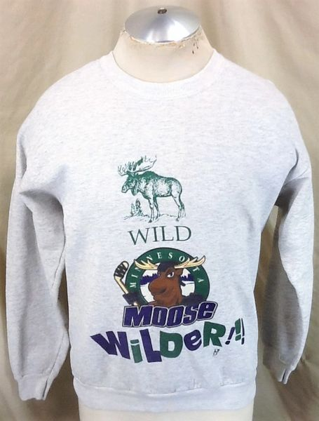 "Vintage 90's Minnesota Moose ""Wilder"" (Med/Large) Retro Graphic IHL Hockey Sweatshirt"