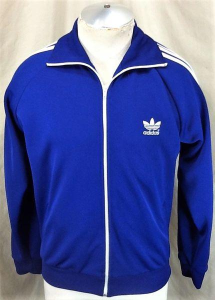 Vintage 90's Adidas Trefoil Active Wear (Large) Retro Zip Up Blue Track Jacket