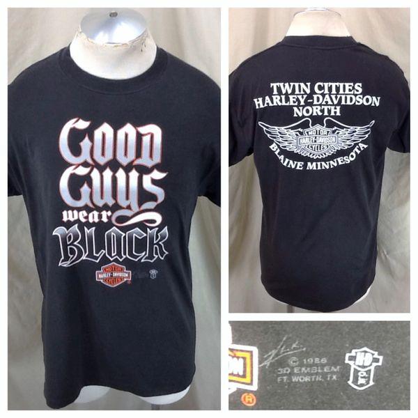 """Vintage 1986 3D Emblem Harley Davidson (Large) """"Good Guys Wear Black"""" 50/50 Shirt"""