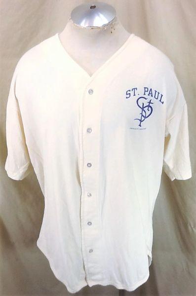 Vintage 1996 St. Paul Saints Baseball (L/XL) Retro Button Up Cotton Tan Jersey