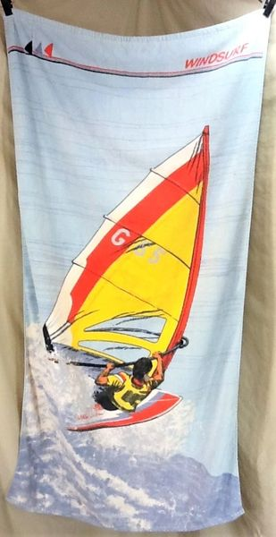 Vintage 90's Windsurfing Classic Art / Beach Vibe Graphic Beach Towel Wall Art