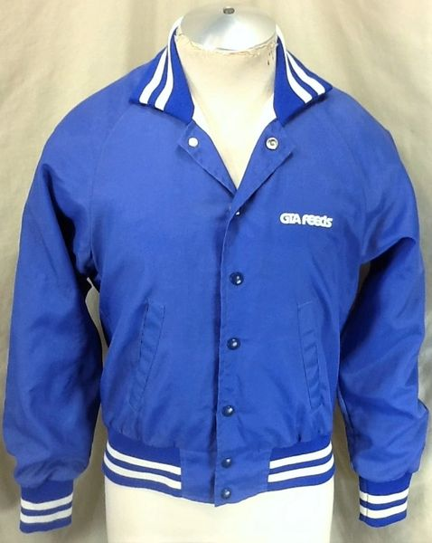 Vintage 80's GTA Feeds (Small) Retro Button Up Insulated Blue Nylon Jacket