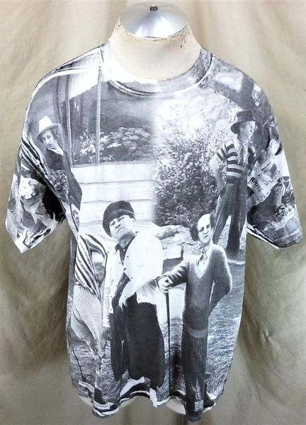 """Vintage 1998 The Three Stooges """"Comedy Trio"""" (XL) Retro All Over Graphic T-Shirt Gray"""
