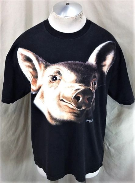 "Vintage 1997 Bobby G's ""Giant Pig Head"" (XL) Retro Graphic Biker Style Graphic T-Shirt"