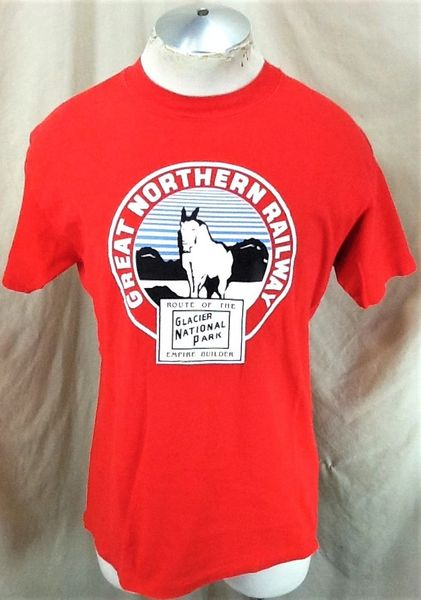 Vintage 90's Great Northern Railway (Large) Glacier National Park Graphic T-Shirt