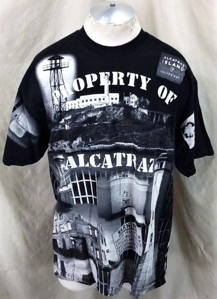 Vintage 1999 Property of Alcatraz Prison (XL) Retro All Over Graphic T-Shirt