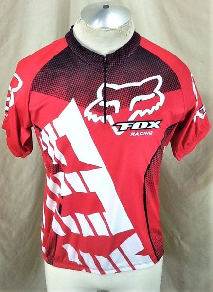 Retro Fox Racing Cycling Team (XL) Retro 1/4 Zip Up Race Cut Pullover Red Bike Jersey