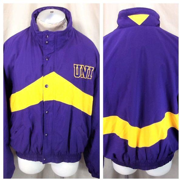 Vintage 1980's DeLong Northern Iowa Panthers (2XL) Retro NCAA Snap Up Nylon Jacket