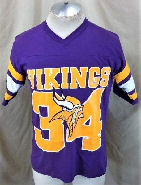 Vintage 90's Logo 7 Minnesota Vikings #34 (Med) Retro NFL Football Graphic Purple T-Shirt
