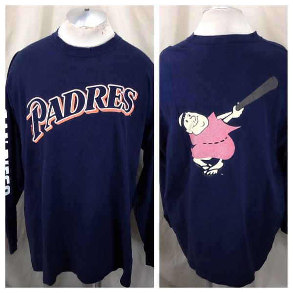 "Vintage 1997 Starter San Diego Padres ""The Swingin' Friars"" (2XL) Retro MLB Baseball Long Sleeve Graphic T-Shirt"