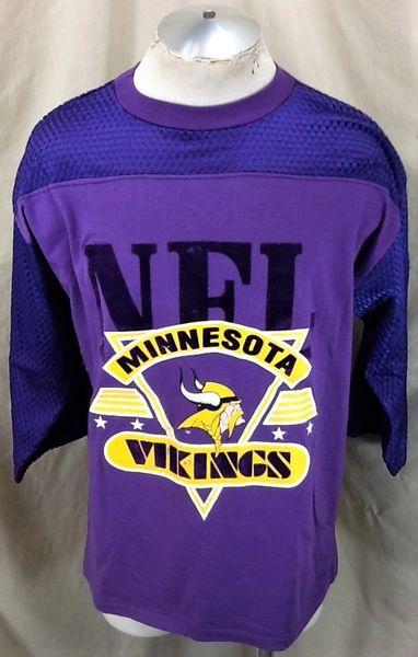 Vintage 90's Artex Minnesota Vikings Football (Large) Retro NFL Classic Logo Graphic T-Shirt Purple