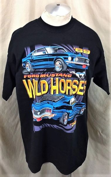 "Vintage 90's Ford Mustang ""Wild Horses '69-'70"" (XL) Retro Gear Heads Graphic T-Shirt"