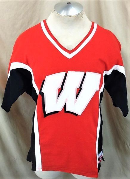 Vintage 90's Champion Wisconsin Badgers (Med/Large) Retro NCAA Knit Stitched Shooting Jersey