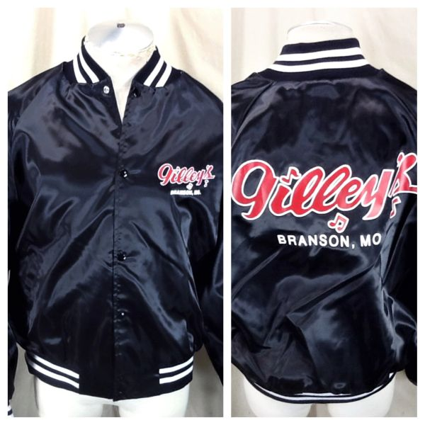 "Vintage 80's Gilley's Club ""Branson, Mo."" (XL) Retro Country Music Snap Up Satin Jacket"