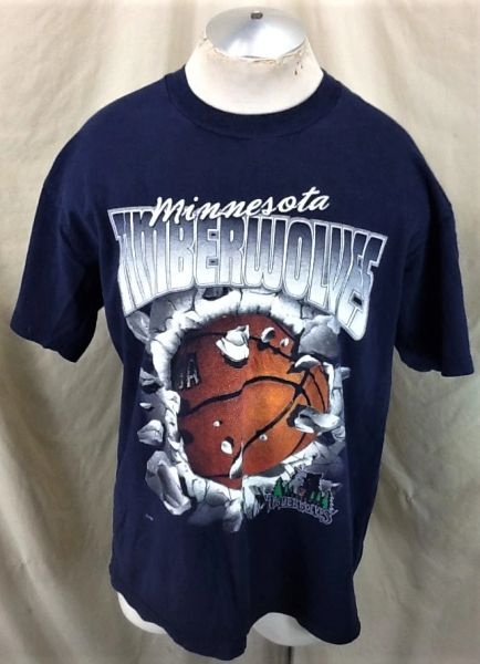 Vintage 00's Minnesota Timberwolves (XL) Retro NBA Basketball Wolves Graphic T-Shirt