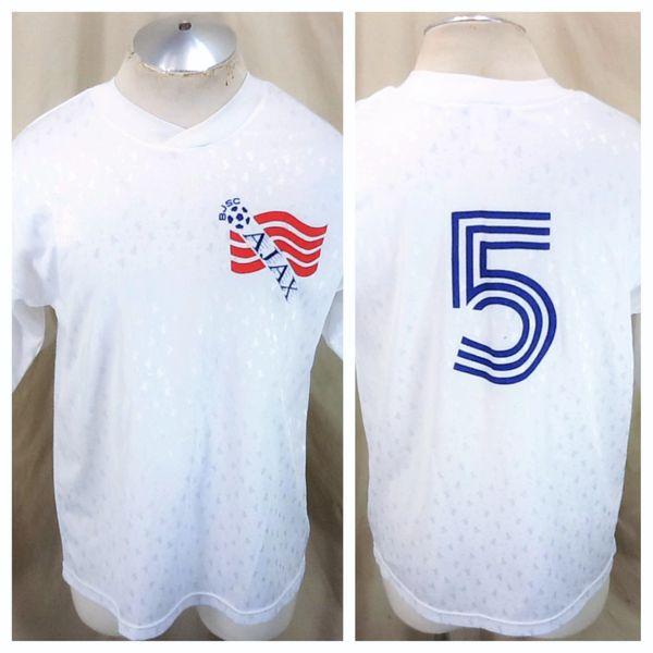 "Vintage Lotto AJAX ""BJSC"" Amsterdam #5 (Large) Retro Graphic Pullover Knit Soccer Jersey"