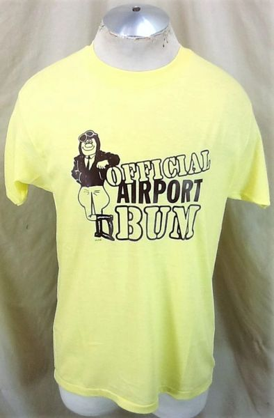 Vintage 80's Official Airport Bum (Large) Retro Graphic Tourism Yellow T-Shirt