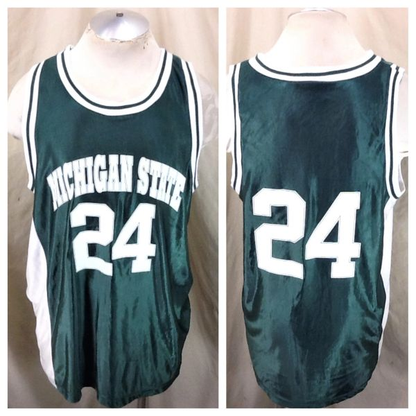 Vintage 90's Michigan State Spartans #24 (XL) Retro NCAA Graphic Basketball Jersey
