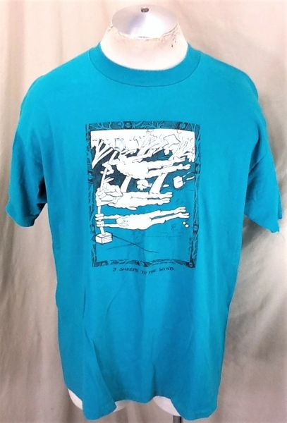 Vintage 1991 3 Sheeps To The Wind (XL) Retro Graphic Funny Drinking T-Shirt Green