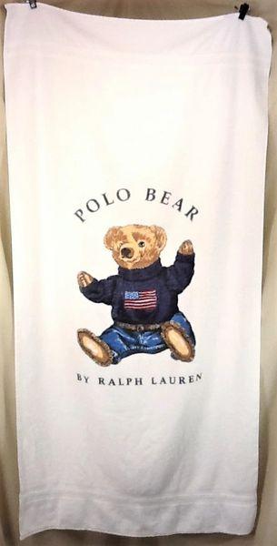 "Vintage 90's Polo Ralph Lauren ""Classic Polo Bear"" Retro Graphic Beach Towel Wall Art"