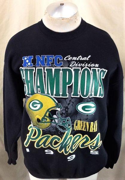 Vintage 1995 Green Bay Packers Football (XL) Retro NFL Division Champions Black Sweatshirt