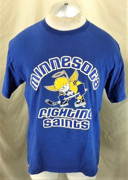 Vintage Minnesota Fighting Saints (Large) Independent Hockey Graphic T-Shirt