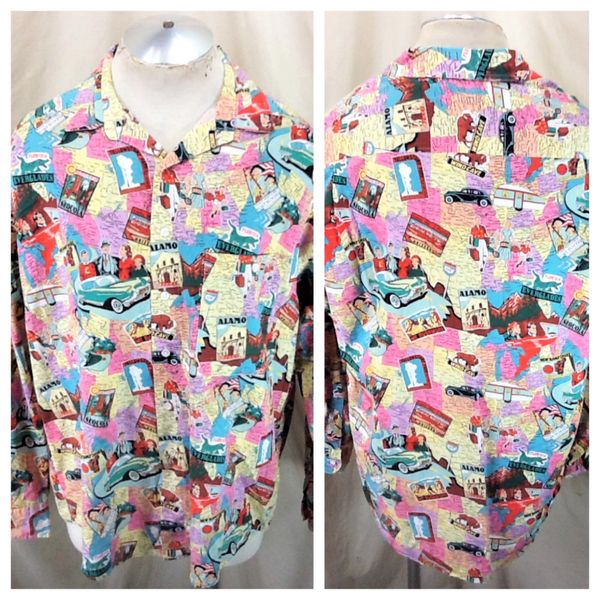 """Vintage Johnny Cotton """"National Park Service"""" (Large) All Over Graphic Button Up Shirt"""