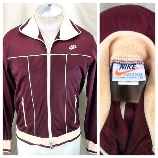Vintage 1970's Nike Active Wear (Med) Retro Zip Up Athletic Wear Track Jacket
