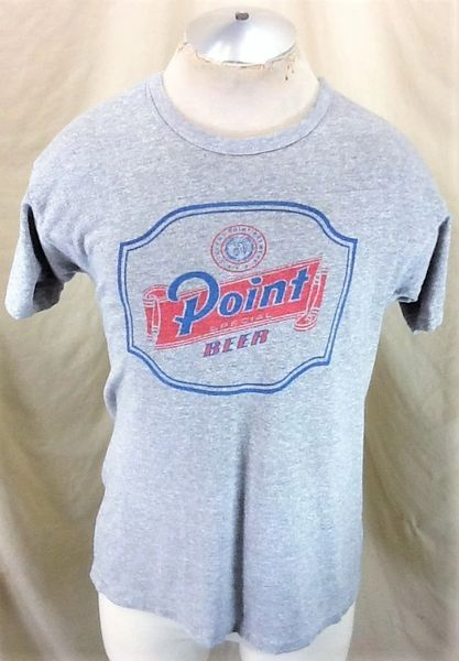 Vintage 80's Champion Stevens Point Brewing (Large) Retro Point Beer Rayon T-Shirt