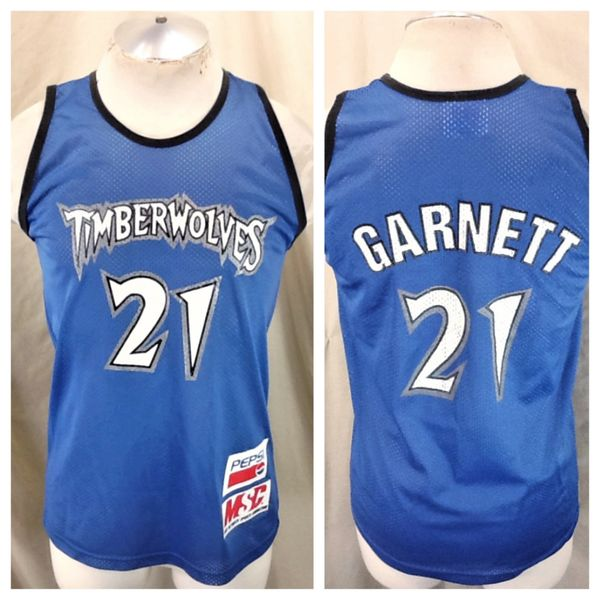 Vintage 90's Minnesota Timberwolves Kevin Garnett #21 (Med/Large) Retro NBA Promo Wolves Basketball Jersey