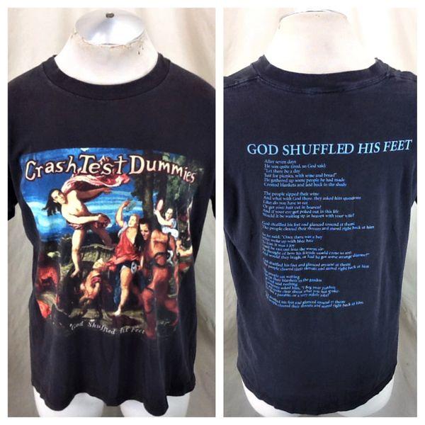 "Vintage 1994 Crash Test Dummies (Large) ""God Shuffled His Feet"" Song Lyrics T-Shirt"