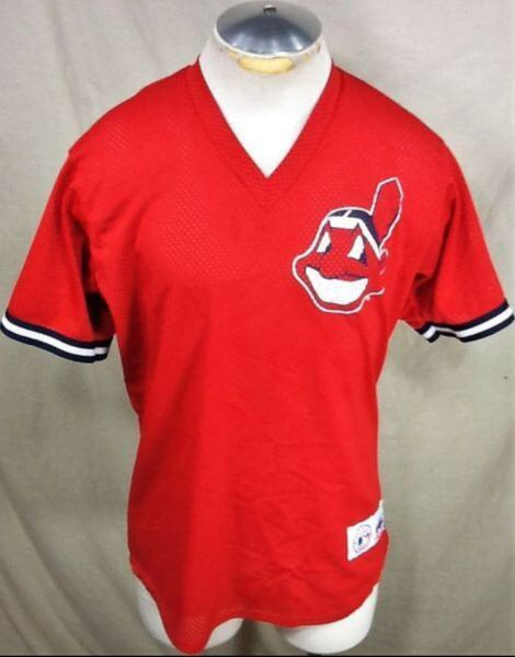 Vintage 90's Majestic Cleveland Indians Baseball (Med) Retro MLB Classic Logo Pullover Jersey Red