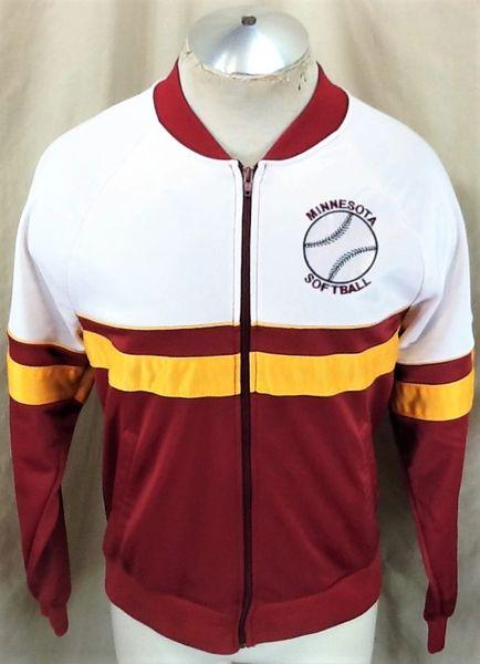 Vintage 1980's Minnesota Gophers Softball (Med) Retro NCAA Full Zip Up Track Jacket