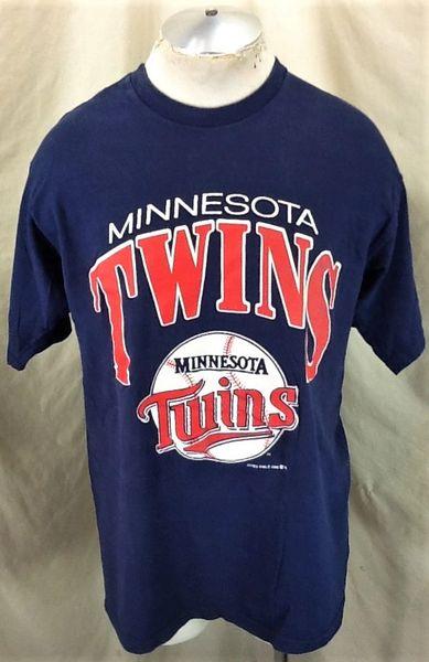 Vintage 1988 Minnesota Twins Baseball (L/XL) Retro MLB Single Stitch Graphic T-Shirt