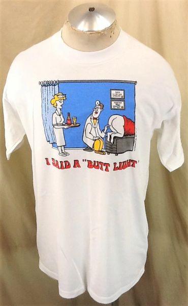 "Vintage 1990 ""I Said Butt Light"" (XL) Retro Breweriana Comedy Graphic T-Shirt"