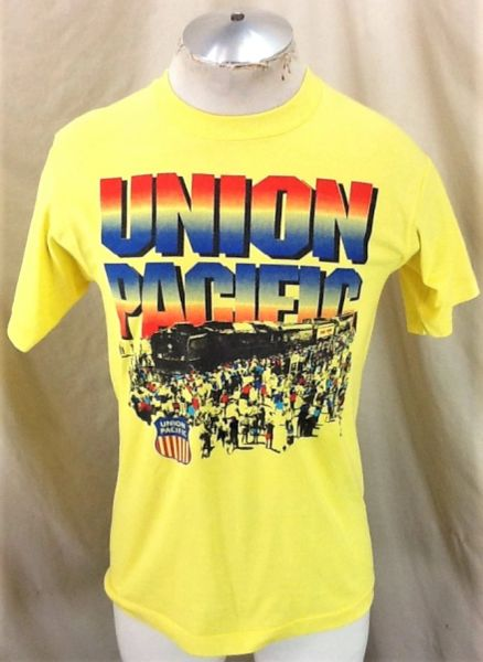 Vintage 90's Union Pacific Railroad (Med) Retro Graphic Single Stitch T-Shirt