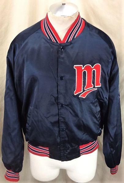 Vintage 80's Chalk Line Minnesota Twins Baseball (XL) Retro MLB Snap Up Satin Jacket Blue