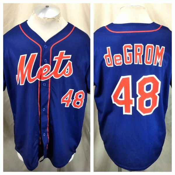 New York Mets Jacob DeGrom #48 (L/XL) Retro MLB Baseball Graphic Polyester Blue Jersey