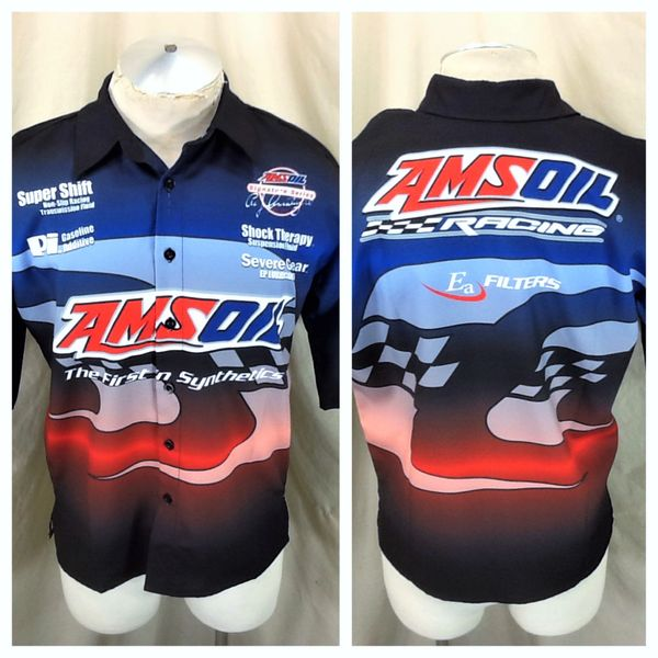 "Amsoil Racing Sportswear Gear (Med) ""First In Synthetics"" Button Up Shop Shirt"