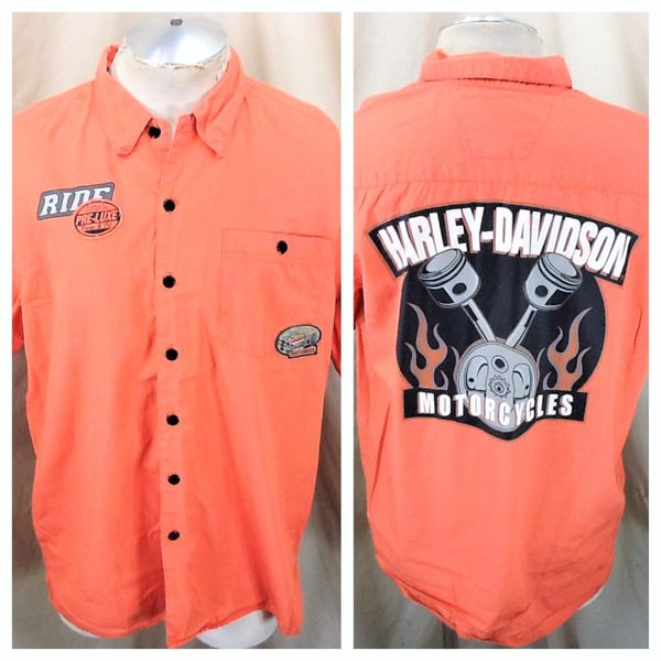 """Harley Davidson Motorcycles """"Pre-Luxe Parts & Oil"""" (Large) Button Up Orange Shop Shirt"""